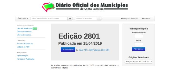 atualizações do Diário Oficial dos Municípios